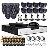16 Channel CCTV HDMI Surveillance H.264 Security Network DVR + 16 x 700TVL Day Night Waterproof Cameras Video System (1000GB Hard Drive Pre-installed)