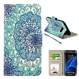 S7 Case Edge, Galaxy S7 Edge Case, UrSpeedtekLive Premium PU Leather Wristlet Flip Wallet Case with Card Slots & Stand Cover For Samsung Galaxy S7 Edge, Mandala