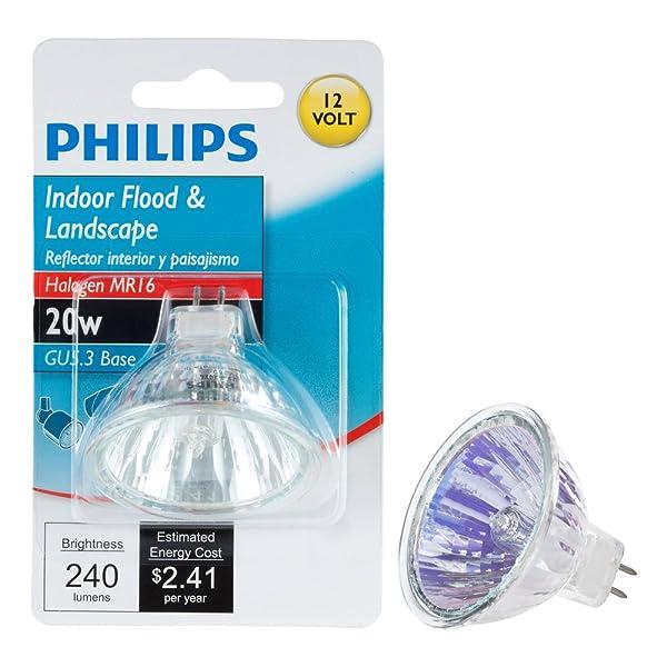 Philips 419317 20-Watt MR16 Landscape and Indoor Flood Light Halogen Light Bulb (Color: 20-watt, Tamaño: 1 Pack)
