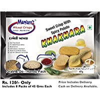 Maniarr's DABELI Khakhra (8 packs, Single Flavor, 360 gms) (ReadyToEat, Low Fat/Calorie, Not Fried & No Preservative)