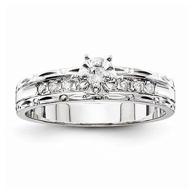 14k oro bianco aa Qualità Trio anello di fidanzamento da UKGems - 14k White Gold AA Quality Trio Engagement Ring by UKGems