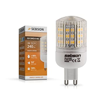 sebson ampoules led led 3w remplace 25w culot g9 angle angle du faisceau 160. Black Bedroom Furniture Sets. Home Design Ideas