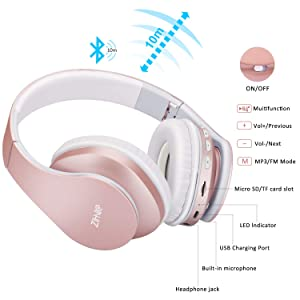 Bluetooth Over-Ear Headphones, Zihnic Foldable Wireless and Wired Stereo Headset Micro SD/TF, FM for Cell Phone,PC,Soft Earmuffs &Light Weight for Prolonged Waring (Rose Gold) (Color: Rose Gold)