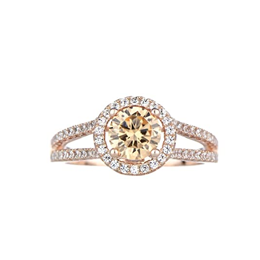 Ariane's Champagne CZ Rose Goldtone Engagement Ring