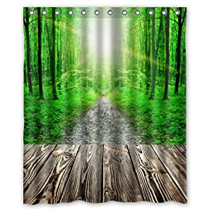 Beautiful fantastic green forest retro wood - Forest green shower curtain ...