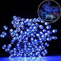 [Upgraded] Solar Powered String lights, Addlon Fairy string decorative lights, 72ft 200 LED 2 work Modes,Solar Ambience for Outdoor, Garden, Home, Wedding, Christmas party,Waterproof(Blue)