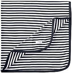 L\'ovedbaby Unisex-Baby Newborn Organic Swaddling Blanket, Navy/White, one size