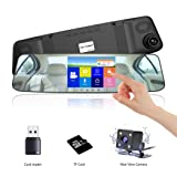 VICTONY 4.3 Inch Touch Screen Full HD 1080P Dual Lens Car Camera,170° Wide Angle Front Lens and Rearview Backup Camera with G-Sensor, Loop Recording,Night Vision(SD Card Included) (Silver)
