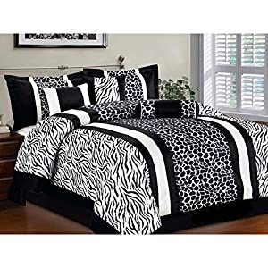 7-Piece Queen Safari Comforter Bedding Set Animal Print Zebra Giraffe Black & White