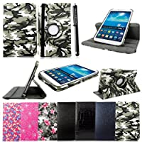 """Cellularvilla Leather Case For Samsung Galaxy Tab 3 7.0"""" Inch P3200 P3210 T210 Tablet 360 Degrees Rotating PU Leather Flip Folio Case Cover with Auto Sleep/wake Feature Swivel Stand +Stylus Touch Pen by Cellularvilla"""
