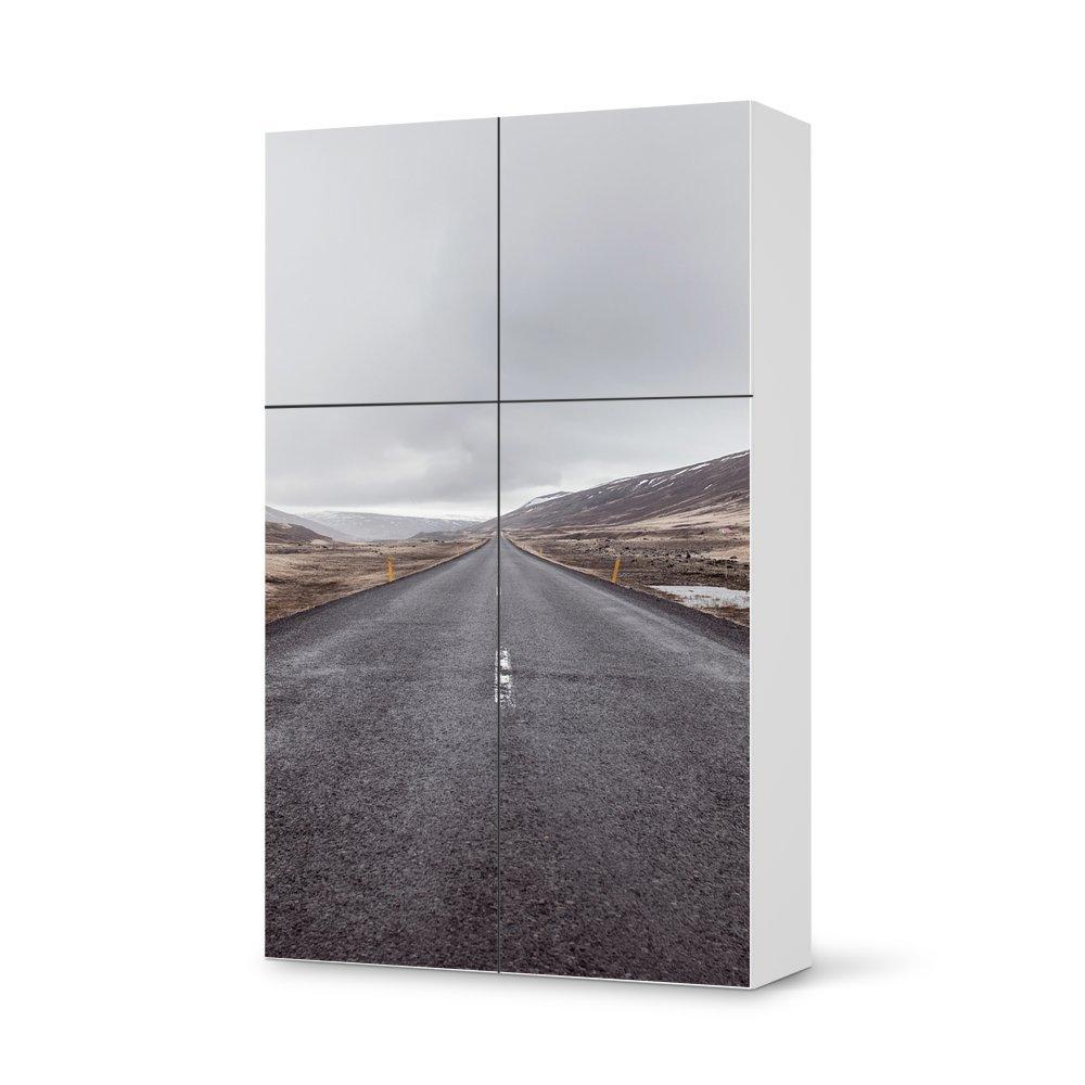 Folie IKEA Besta Schrank Hochkant 4 Türen (2+2) / Design Aufkleber The Road / Dekorationselement günstig bestellen
