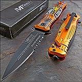 Mtech Ballistic Rapid Rescue Assisted Opening Orange Camo Glass Breaker Knife!!!
