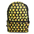 New QQ Printing Emoji Backpack Canvas Travel Satchel Cute Gril School Rucksack