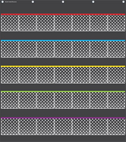 Teacher Created Resources Black Polka Dots Storage Pocket Chart (20750) (35 Pocket Chart compare prices)