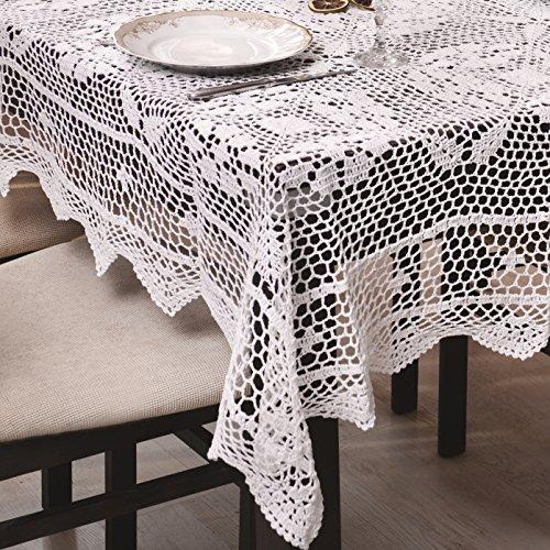 60x120 Oval weiß Häkeltischdecke Tischdecke mit feinstem Häkel-Muster wunderbar elegant 100% Baumwolle Landhaus modern folk Denis