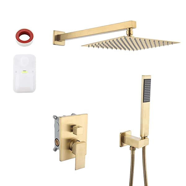 KES Pressure Balancing Rain Shower System Shower Faucet Complete Set Square PVD Gold (Including Shower Faucet Rough-In Valve Body and Trim), XB6230-BZ (Color: Brushed Brass, Tamaño: Square 10 overhead shower+hand shower)