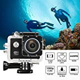 2.0-Inch WIFI 1080p 12MP Sports Action Camera Diving 30M Waterproof Camera 170 Degree Ultra-wide Angle Motorcycle Helmet Cam Bicycle Action Camcorders (Black)