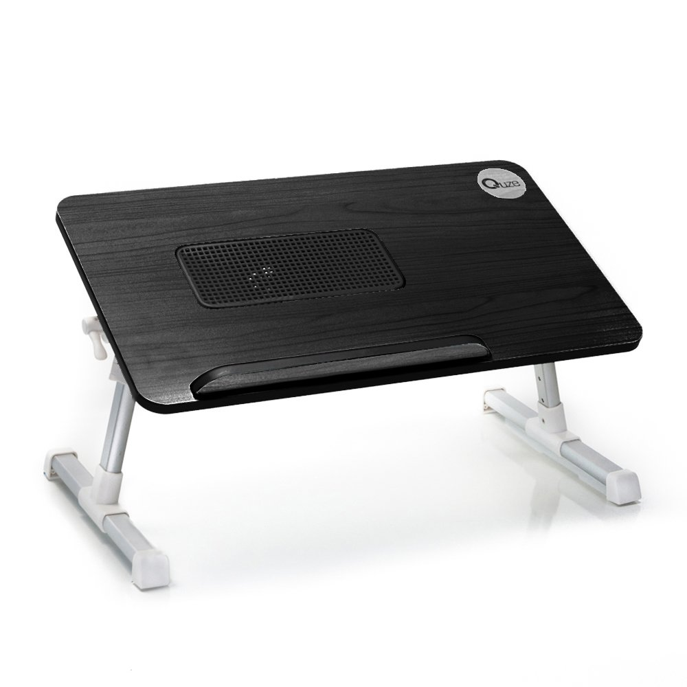 Quze Adjustable Laptop Desk Wooden Computer Stand Fan