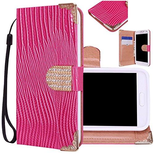 Majesticase® Samsung Galaxy S5 i9600 Wallet Case - Deluxe Bling Fancy Wristlet Wallet Purse Clutch Croc Pattern Cover + FREE Stylus in Pink