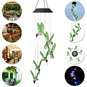 EpicGadget Hummingbird Solar Light, Solar Bird Wind Chime Color Changing Outdoor Solar Garden Decorative Lights for Walkway Pathway Backyard Christmas Decoration Parties (Green Wing Hummingbird) (Color: Green Wing Hummingbird)