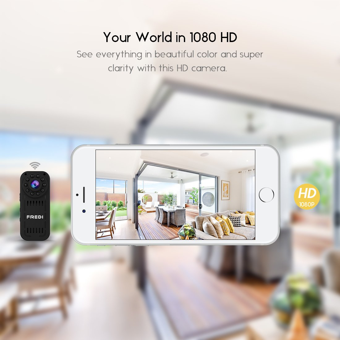 FREDI hidden camera 1080p HD mini wifi camera spy camera for iPhone/Android Phone/ iPad Remote View with Motion Detection(support 128G SD card)