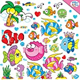 Under the Sea Wall Decals for Kids Bathroom, Boys and Girls Bedroom, Baby Nursery - Peel & Stick Removable Vinyl Wall Stickers - Underwater Tropical Fish & Sealife for Ocean Theme Room Decoration - Best Gift Ideas - With Installation Guide