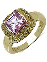 Suraabi 2.82CTW Pink Cubic Zirconia & Yellow Cubic Zirconia 14K Yellow Gold Plated Brass Ring For Women