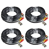 HIS VISION 4 Pack 60ft BNC Video Power Cable Security Camera Wire Cord Extension Cable with 8pcs BNC to RCA Connectors for CCTV DVR Surveillance System