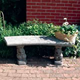Large Garden Bench - Curved Plain Top Stone Bench
