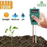 3 in 1 Garden Soil Tester Moisture Meter for Plants - No Battery pH Alkalinity Acidity, Sunlight Level with Dual 8 inch Probe Aluminum and Copper for Indoor Outdoor Gardening - Ebook Included (Color: Type A, Tamaño: 1 set)