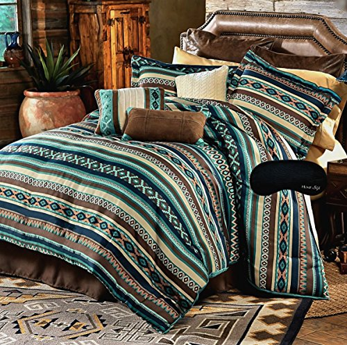 Southwest Dreams Turquoise Native American Queen Comforter, 2 Shams, 3 Decorative Pillows, 1 Bedskirt + Home Style Brand Sleep Mask (8 Pc. Bedding Bundle) (Queen)