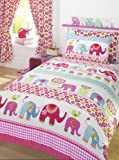 SINGLE DUVET COVER SET WITH MATCHING CURTAINS - NELLIE ELEPHANTS & FLOWERS
