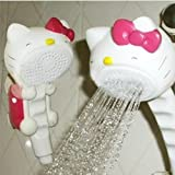 Lovely Plastic Hello Kitty Bathroom Rain Shower Head Mount Set Bath Strainer Suction Cup
