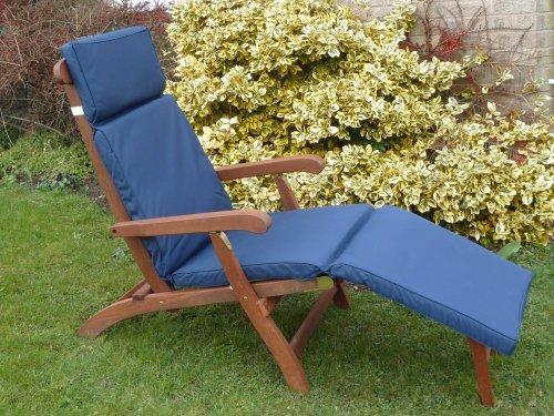 UK-Gardens Navy Blau Garten Möbel liegestuhl Polsterung - Wechselbarer Bezug - Nutzung in Haus oder Garten