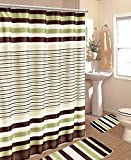 SAGE GREEN BROWN BEIGE STRIPE MODERN FABRIC SHOWER BATHROOM CURTAIN SET HOOK