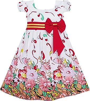 Amazon.com: Sunny Fashion Girls Dress Pink Flower Short Sleeve Party