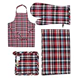 belle maison Kitchen Linen Set (Apron+Gloves+Pot Holder+Napkin)