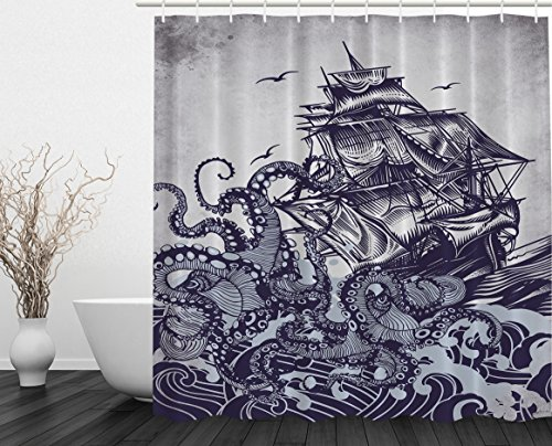 Sail Boat Waves and Octopus