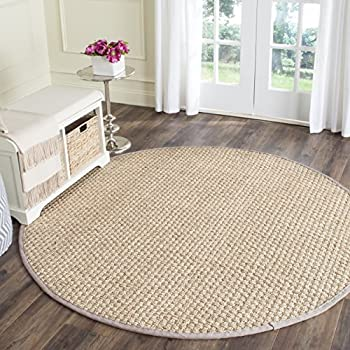 Safavieh Natural Fiber Collection NF114P Basketweave Natural andGrey Seagrass Round Area Rug (6 Diameter)