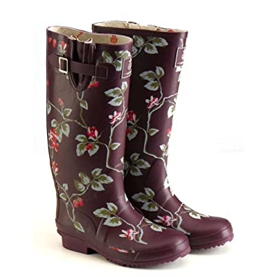 Tayberry Painterley Floral Welly, Plum