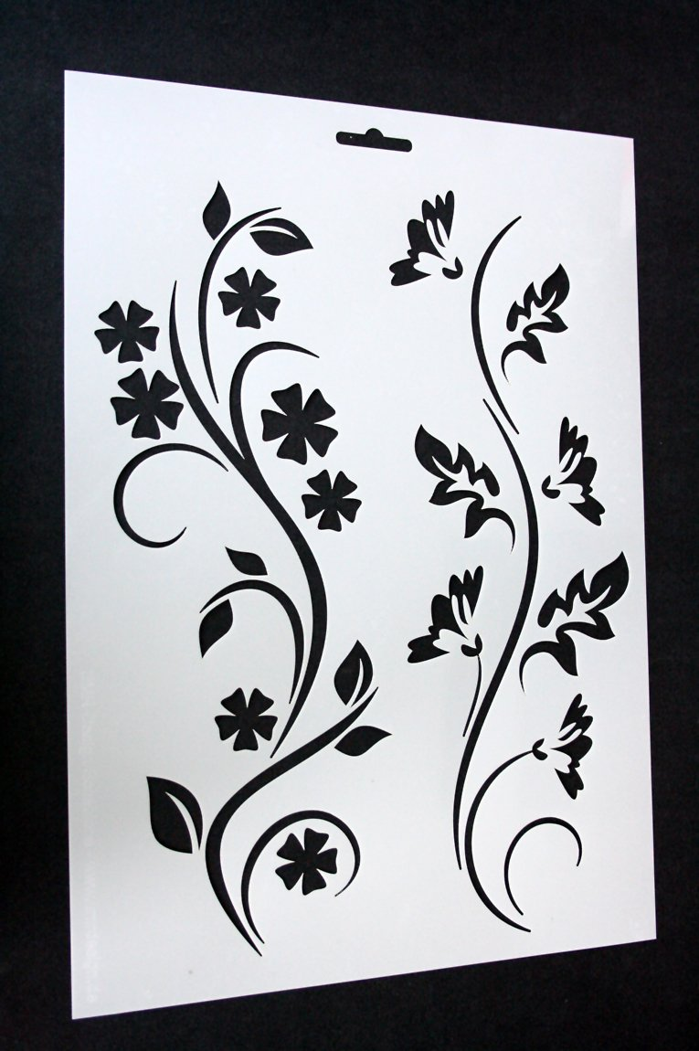 Schablone Blume Wand a4 Textil / Wand Schablone
