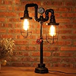 Vintage Table Lamp Lighting, MKLOT Ecopower Plug-in Retro Industrial Iron Pipe Table Lamp 15.35