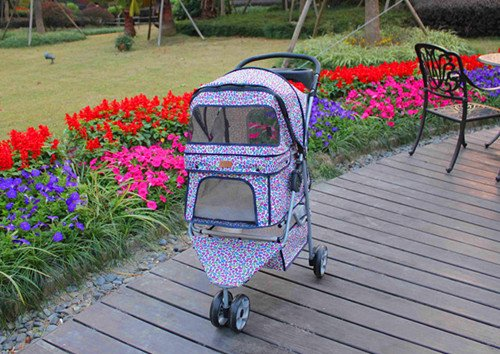 Pink Leopard 3 Wheels Pet Dog Cat Stroller w/RainCover