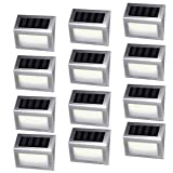 [12 Pack]iThird Solar Powered Step Lights 6 LED Solar Deck Lights Outdoor Warm White Stainless Steel Decoration for Stair Fence Path Auto ON/Off Weatherproof Upgrade (Color: Warm White, Tamaño: steplight-12pack-warmwhite)