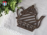 Cast Iron Trivet | Old Fashioned Tea Pot | Decorative Cast Iron Trivet For Kitchen Or Dining Table | 7x6.3 ' | With Rubber Pegs | by Comfify CA-1504-12-BR