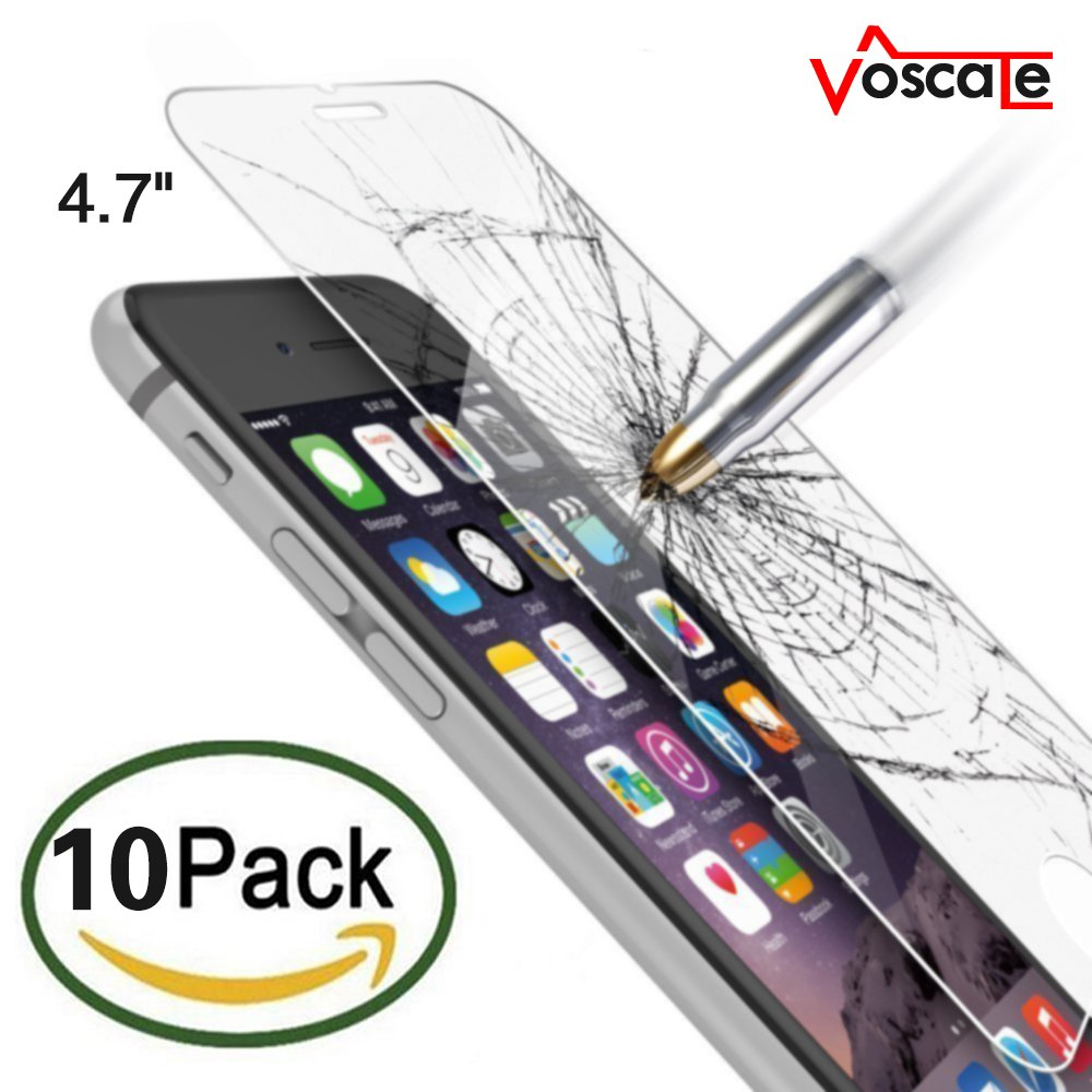 iPhone 6 Screen Protector, Voscale HD Ultra Clear Premium Tempered Glass Screen Protectors Perfect Fit For iPhone 6/6s (4.7 inch ONLY) (10 Pack)