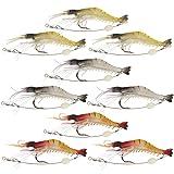 Shelure Soft Lures Shrimp Bait Set, Freshwater/Saltwater, Trout Bass Salmon, 9 Piece