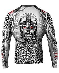 Raven Fightwear Men\'s Norseman MMA BJJ Rash Guard White Large