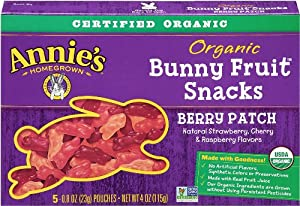 Annie's Homegrown Berry Patch Organic Bunny Fruit Snacks,0.8 Ounce, 5-Count Pouches (Pack of 4)