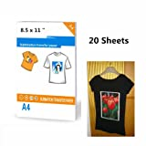 20 Sheets Size 8.5 X 11 Inkjet Photo Transfer Paper Sheets for Dark T-Shirt (Color: WHITE)